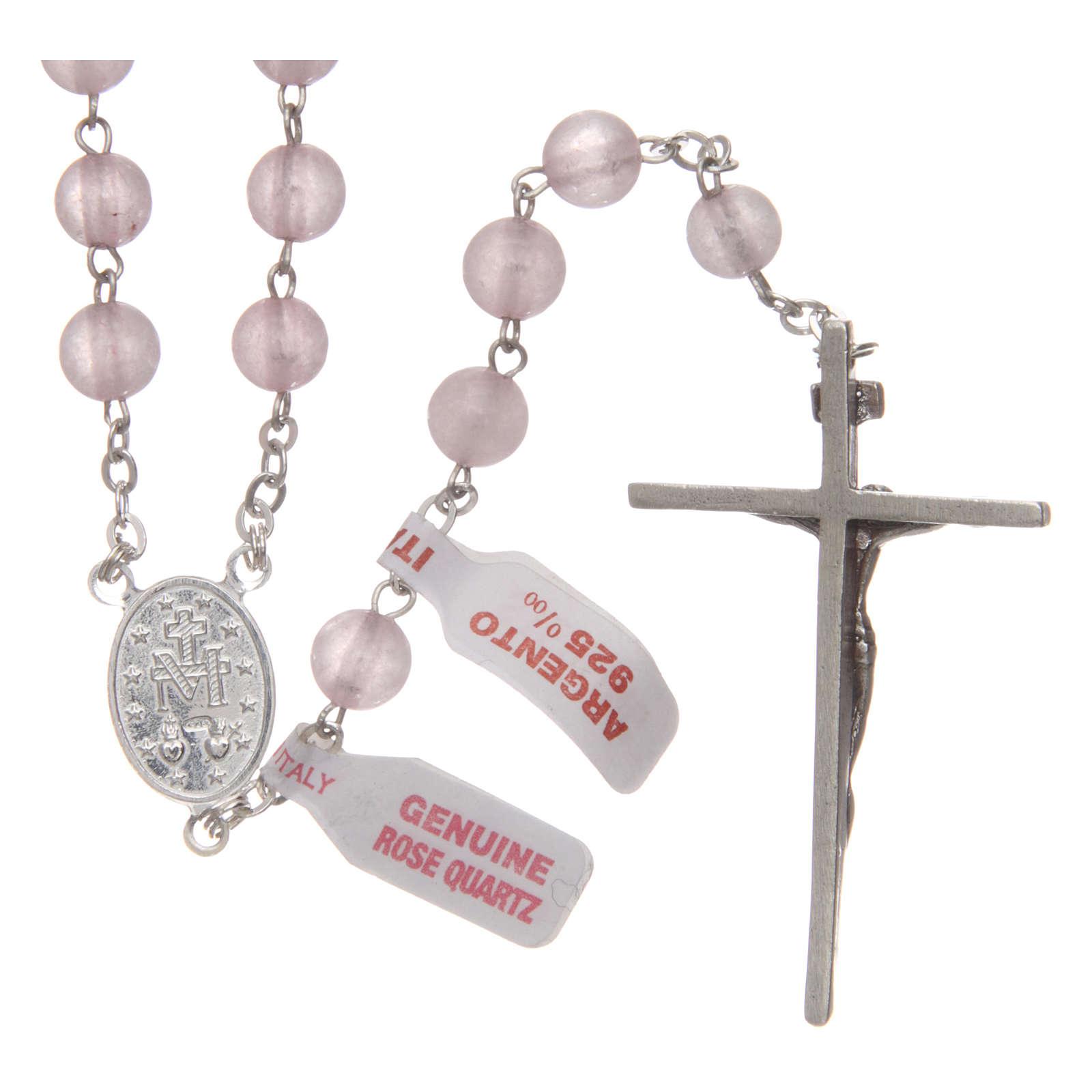 Rosario verdadero cuarzo rosa mm 6 y engarce plata 925 4
