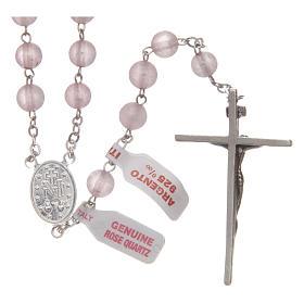 Rosario verdadero cuarzo rosa mm 6 y engarce plata 925 s2