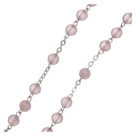 Rosario verdadero cuarzo rosa mm 6 y engarce plata 925 s3