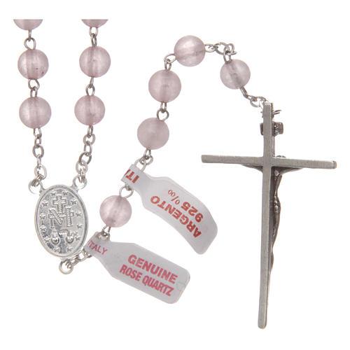 Rosario verdadero cuarzo rosa mm 6 y engarce plata 925 2