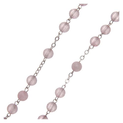 Rosario verdadero cuarzo rosa mm 6 y engarce plata 925 3