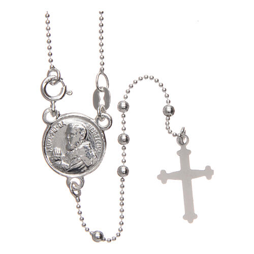 Padre Pio rosary 925 silver round beads 2.5 mm 1