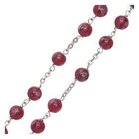 Rosario vetro rosa con roselline mm 6 legatura argento 925 s3