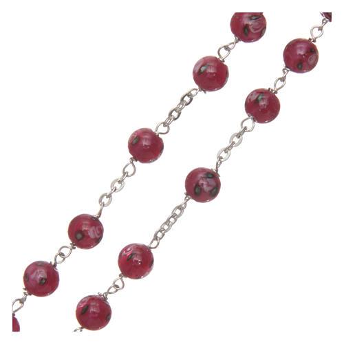 Rosario vetro rosa con roselline mm 6 legatura argento 925 3
