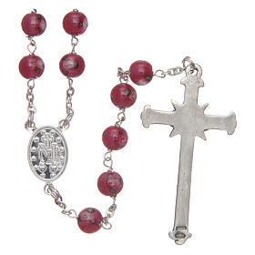 Glass rosary pink beads with roses 6 mm and 925 silver s2
