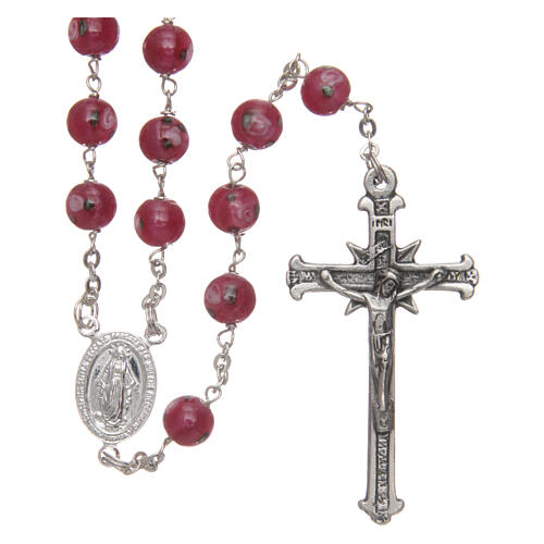 Glass rosary pink beads with roses 6 mm and 925 silver 1
