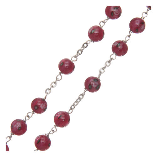 Glass rosary pink beads with roses 6 mm and 925 silver 3