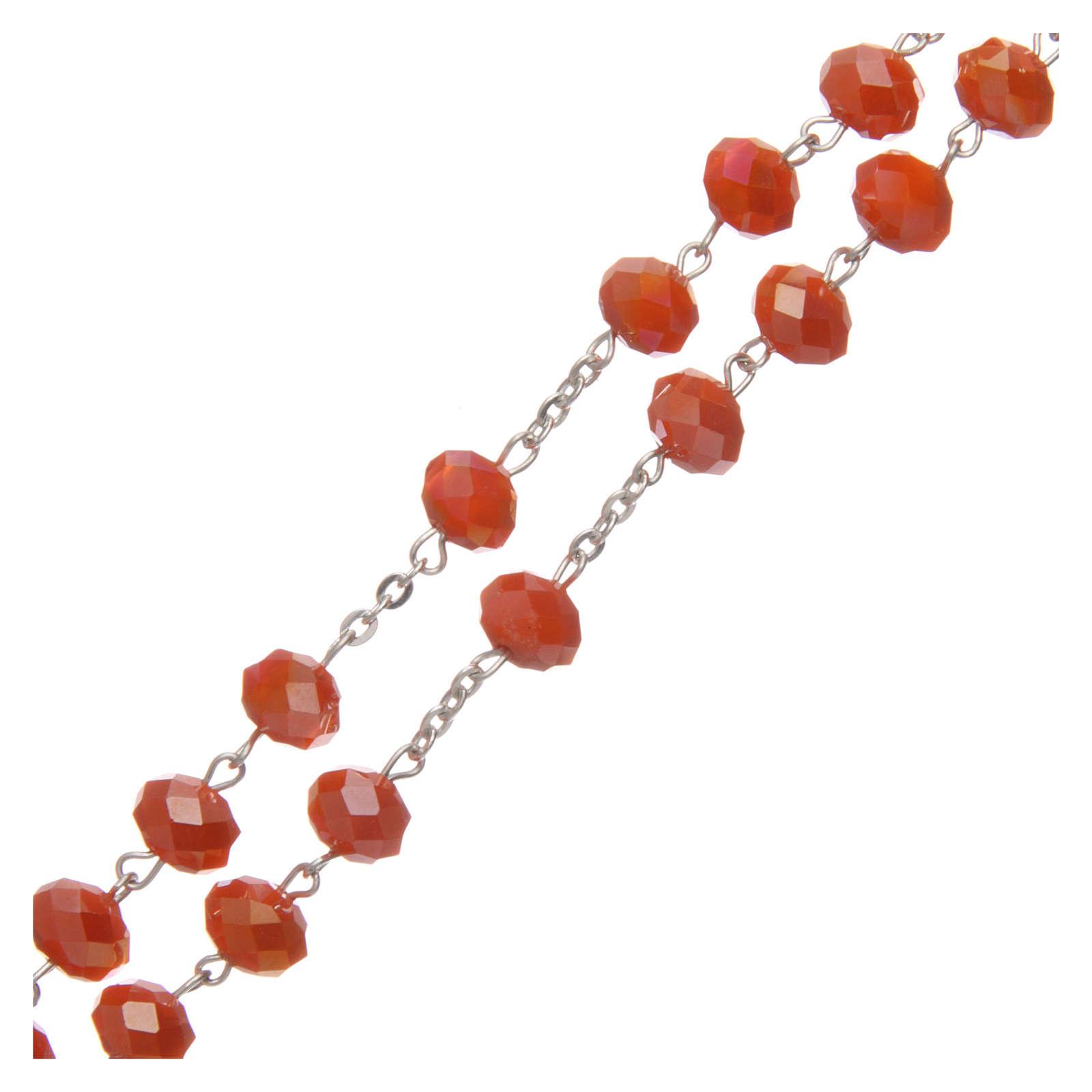 Rosario cristallo opaco arancio 6 mm legatura argento 925 4