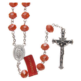 Crystal rosary orange matte beads 6 mm and 925 silver chain s1