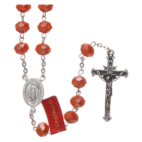 Crystal rosary orange matte beads 6 mm and 925 silver chain 1