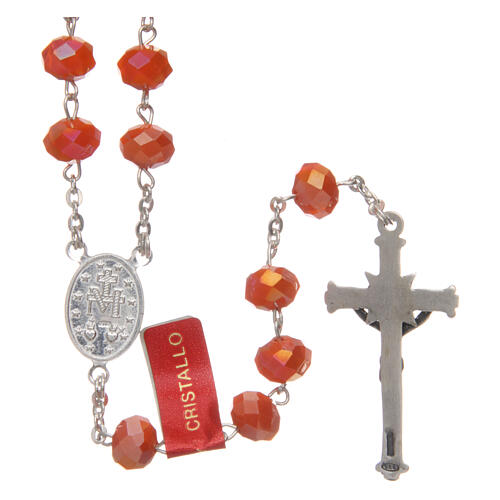 Crystal rosary orange matte beads 6 mm and 925 silver chain 2