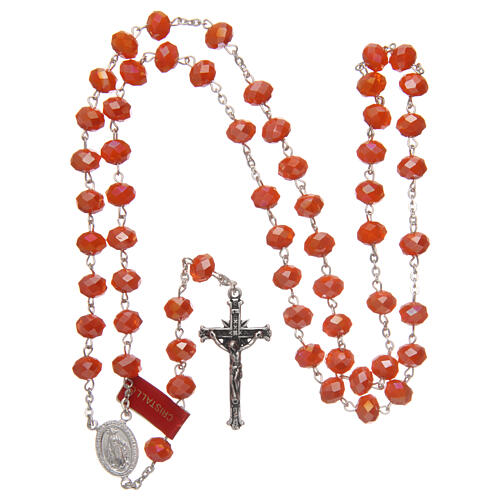 Crystal rosary orange matte beads 6 mm and 925 silver chain 4