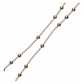 Rosario plata 925 chapada oro granos redondos 3 mm s3
