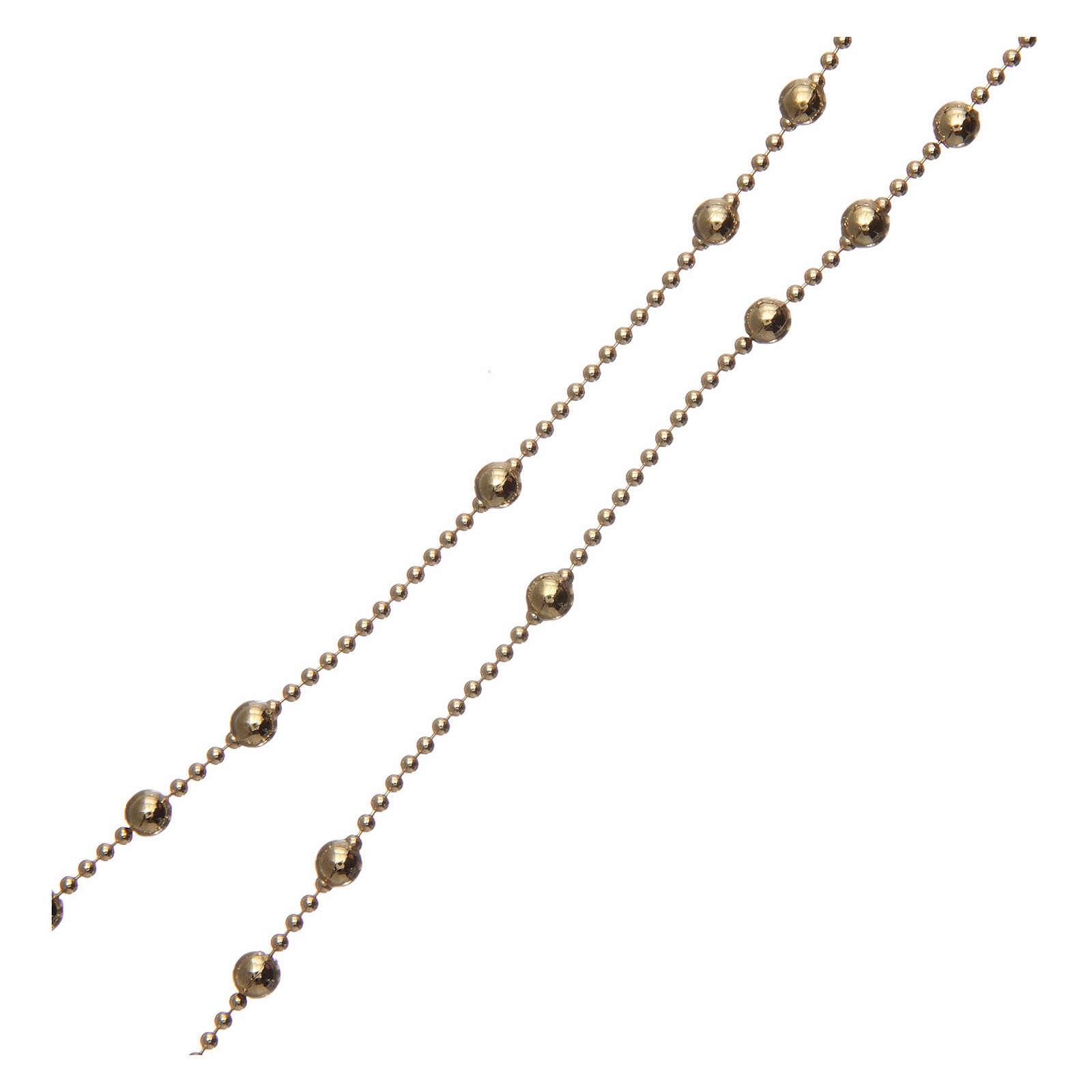 Rosario argento 925 placcato oro grani tondi 3 mm 4