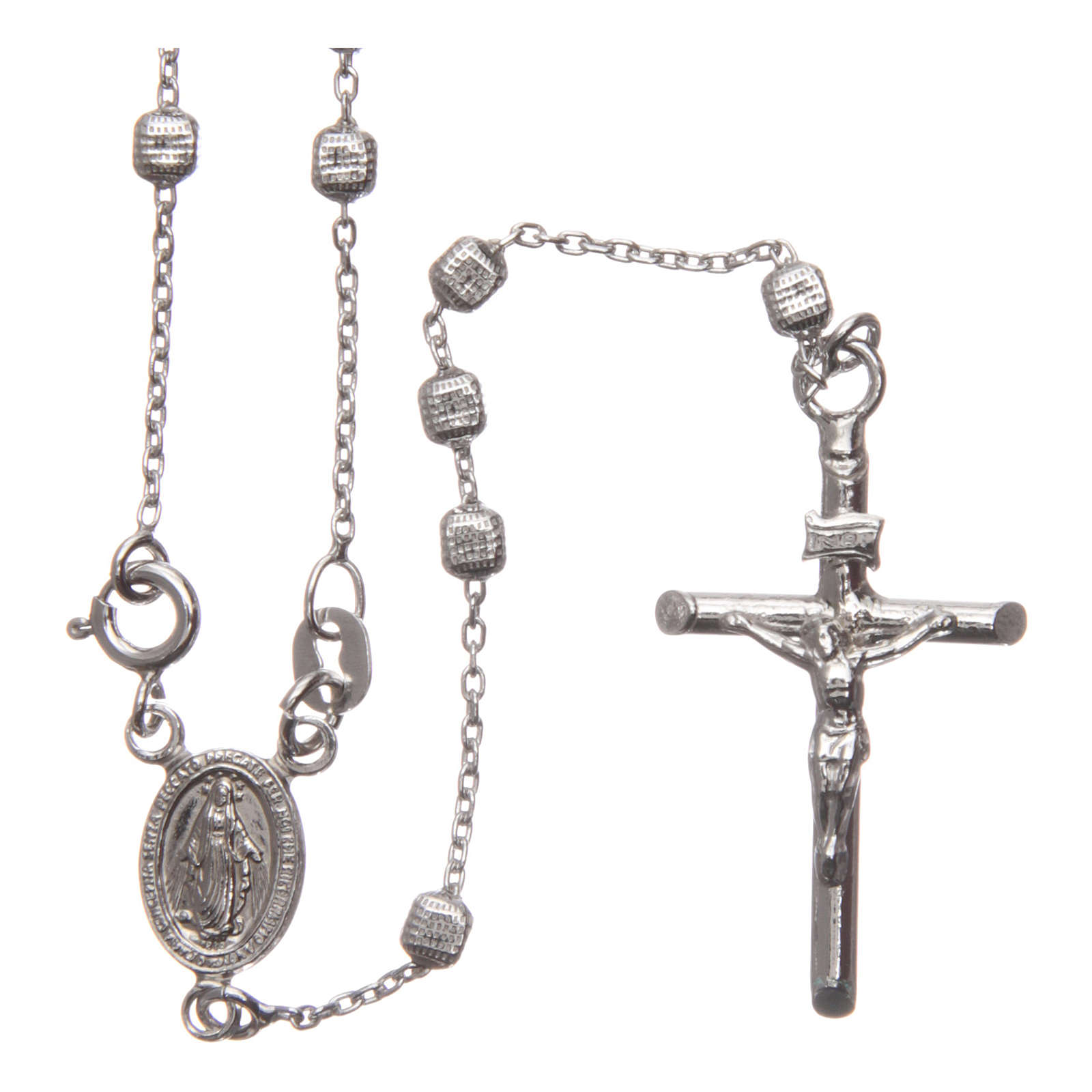 Rosary in 925 silver with cubic beads and fastener 4