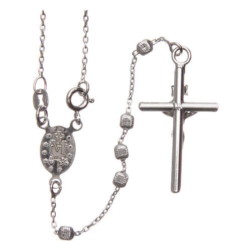 Rosary in 925 silver with cubic beads and fastener 2