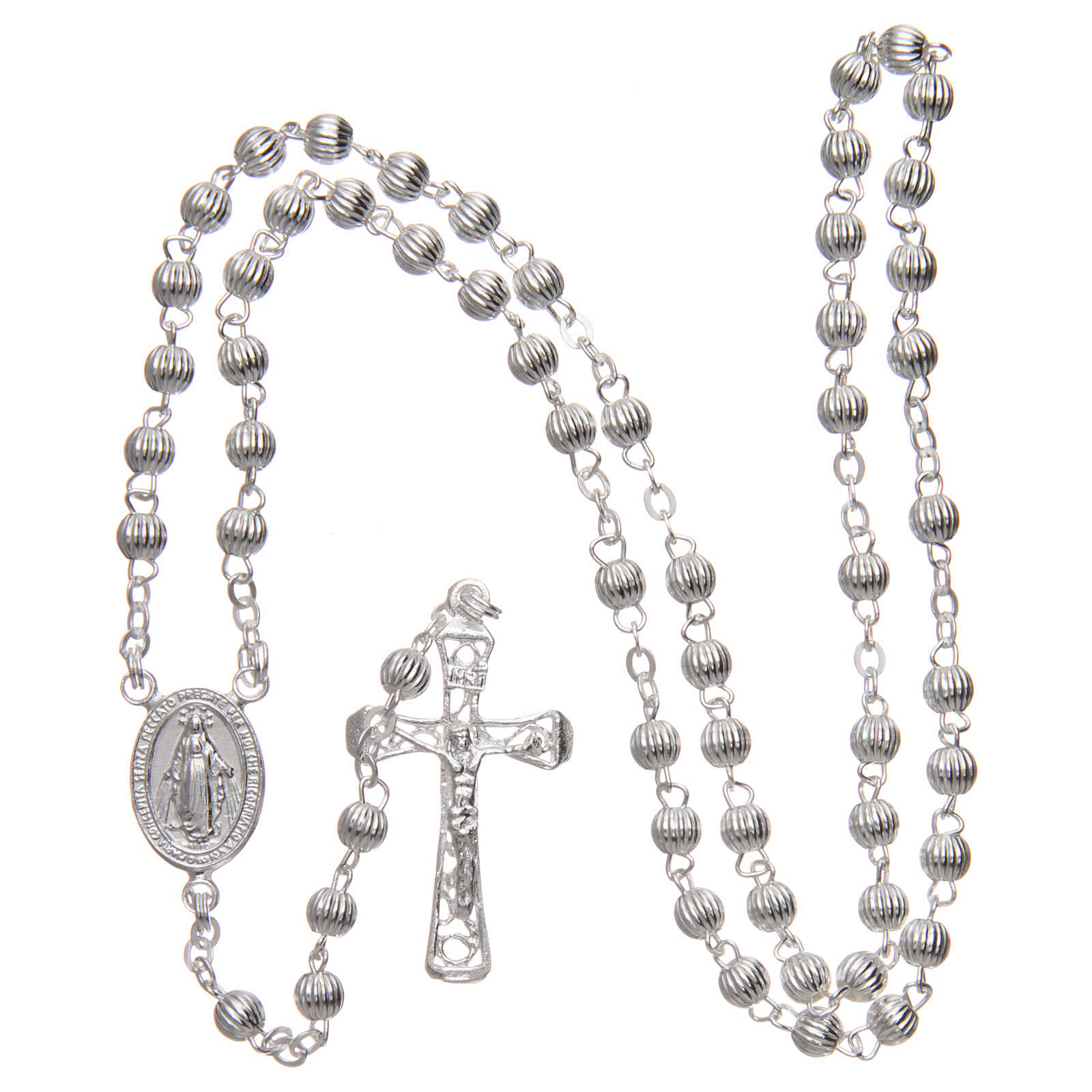 Rosary 925 silver striped beads 4 mm 4