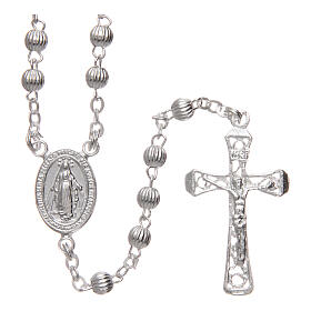 Rosary 925 silver striped beads 4 mm s1