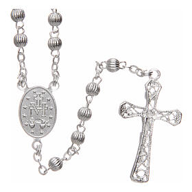 Rosary 925 silver striped beads 4 mm s2