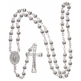 Rosary 925 silver striped beads 4 mm s4