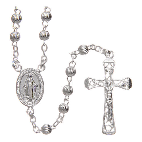 Rosary 925 silver striped beads 4 mm 1