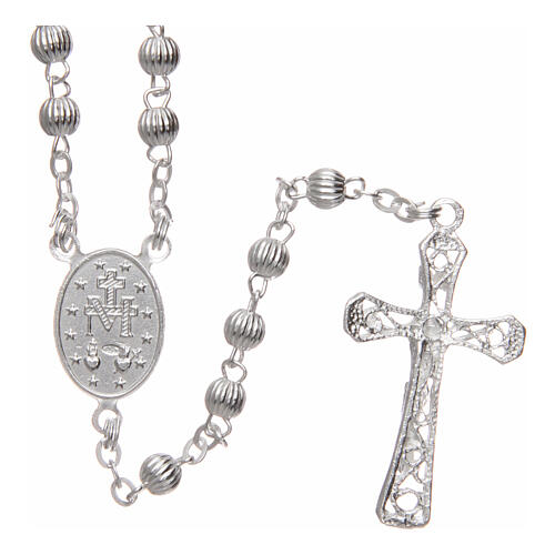 Rosary 925 silver striped beads 4 mm 2