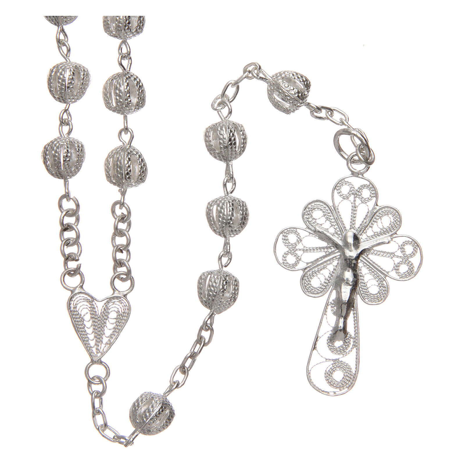 Filigree rosary round beads 925 silver 6 mm 4