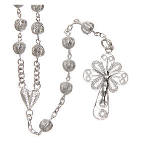 Filigree rosary round beads 925 silver 6 mm s1