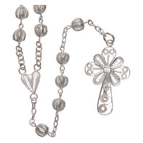 Filigree rosary round beads 925 silver 6 mm s2