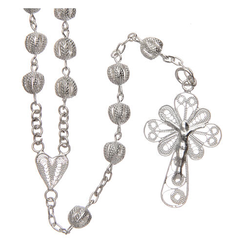 Filigree rosary round beads 925 silver 6 mm 1