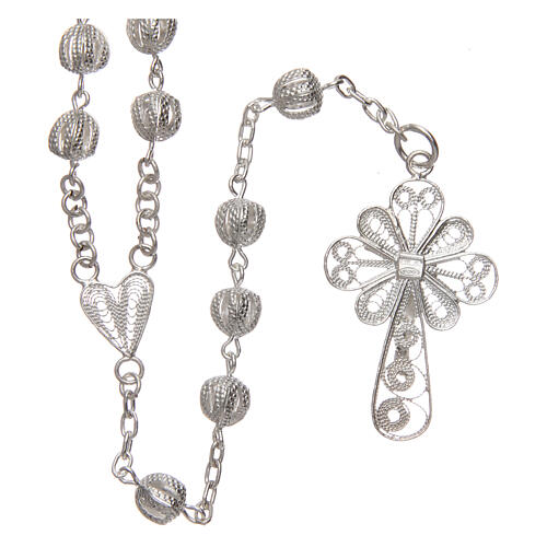 Filigree rosary round beads 925 silver 6 mm 2