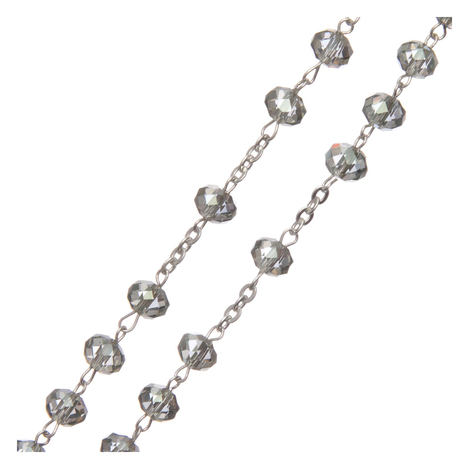 Rosario cristallo 6 mm legatura argento 925 4