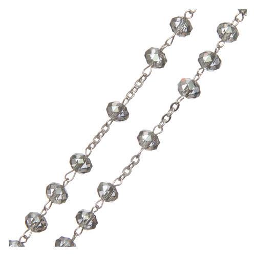 Rosario cristallo 6 mm legatura argento 925 3