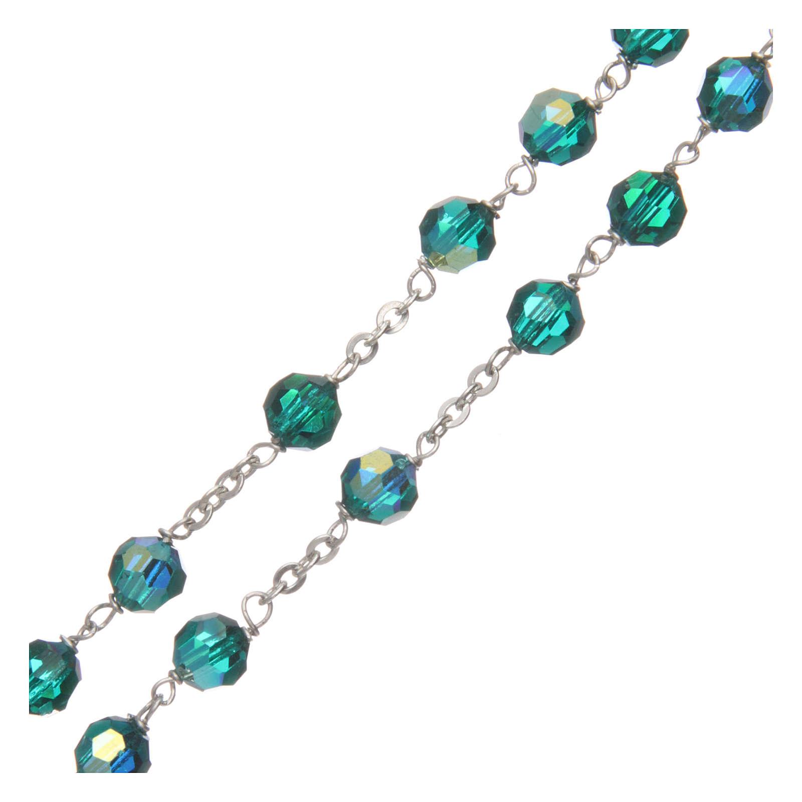 Rosario cristal tallado verde 6 mm engarce plata 925 4