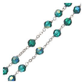 Chapelet cristal à facettes vert 6 mm chaîne argent 925 s3