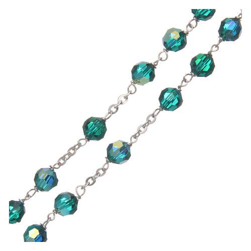 Rosario cristallo sfaccettato verde 6 mm legature argento 925 3