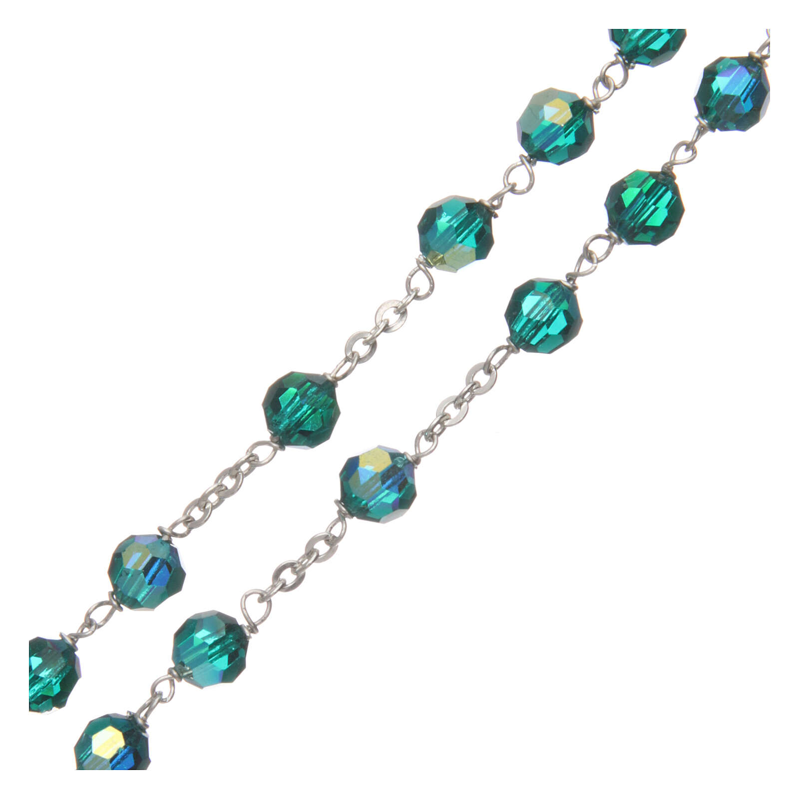 Crystal rosary green faceted beads 6 mm 925 silver chain 4