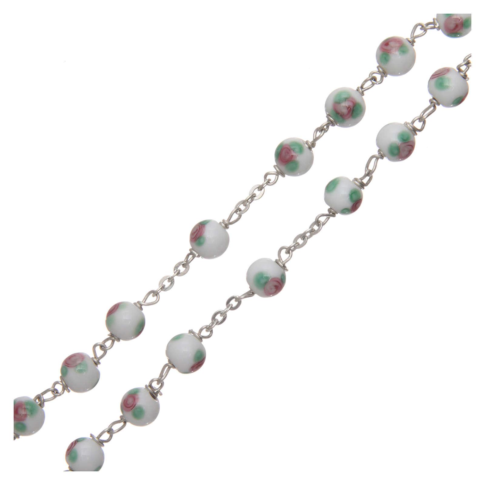 Rosario vetro decorato bianco legatura in argento 925 diametro 6 mm 4
