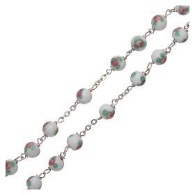 Rosario vetro decorato bianco legatura in argento 925 diametro 6 mm s3