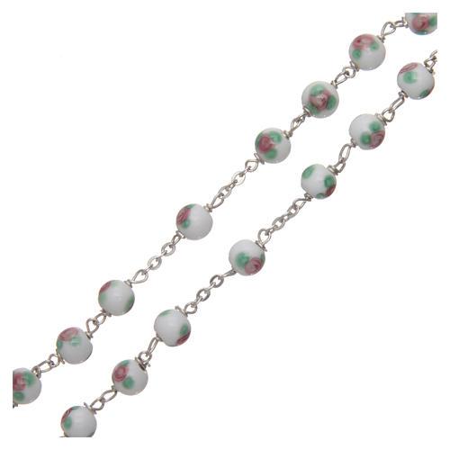 Rosario vetro decorato bianco legatura in argento 925 diametro 6 mm 3