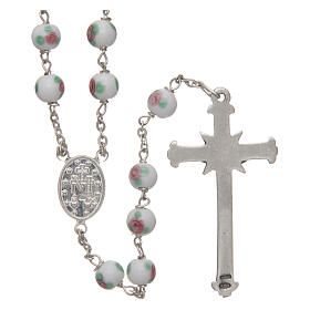 Glass rosary white decorated beads 6 mm and 925 silver s2
