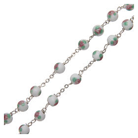 Glass rosary white decorated beads 6 mm and 925 silver s3