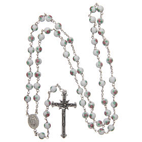Glass rosary white decorated beads 6 mm and 925 silver s4