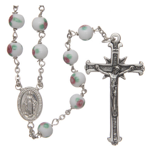 Glass rosary white decorated beads 6 mm and 925 silver 1