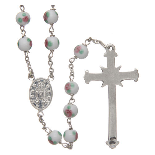 Glass rosary white decorated beads 6 mm and 925 silver 2
