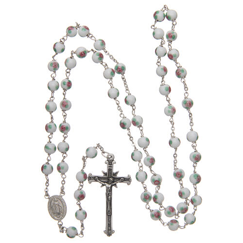 Glass rosary white decorated beads 6 mm and 925 silver 4