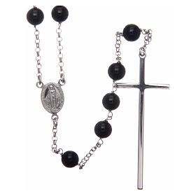 AMEN rosary in rhodium-plated 925 silver with round onyx beads s1