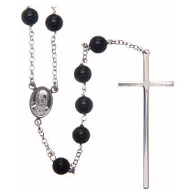 AMEN rosary in rhodium-plated 925 silver with round onyx beads s2