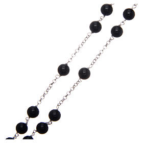 AMEN rosary in rhodium-plated 925 silver with round onyx beads s3