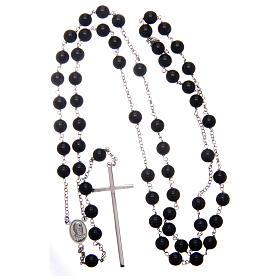 AMEN rosary in rhodium-plated 925 silver with round onyx beads s4